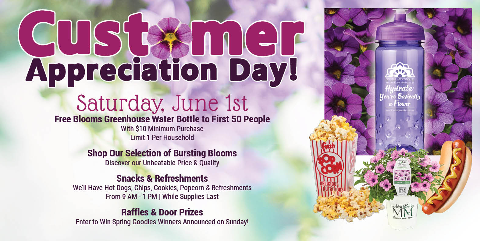 2019 Blooms Greenhouse Customer Appreciation Day Happens on June 1st