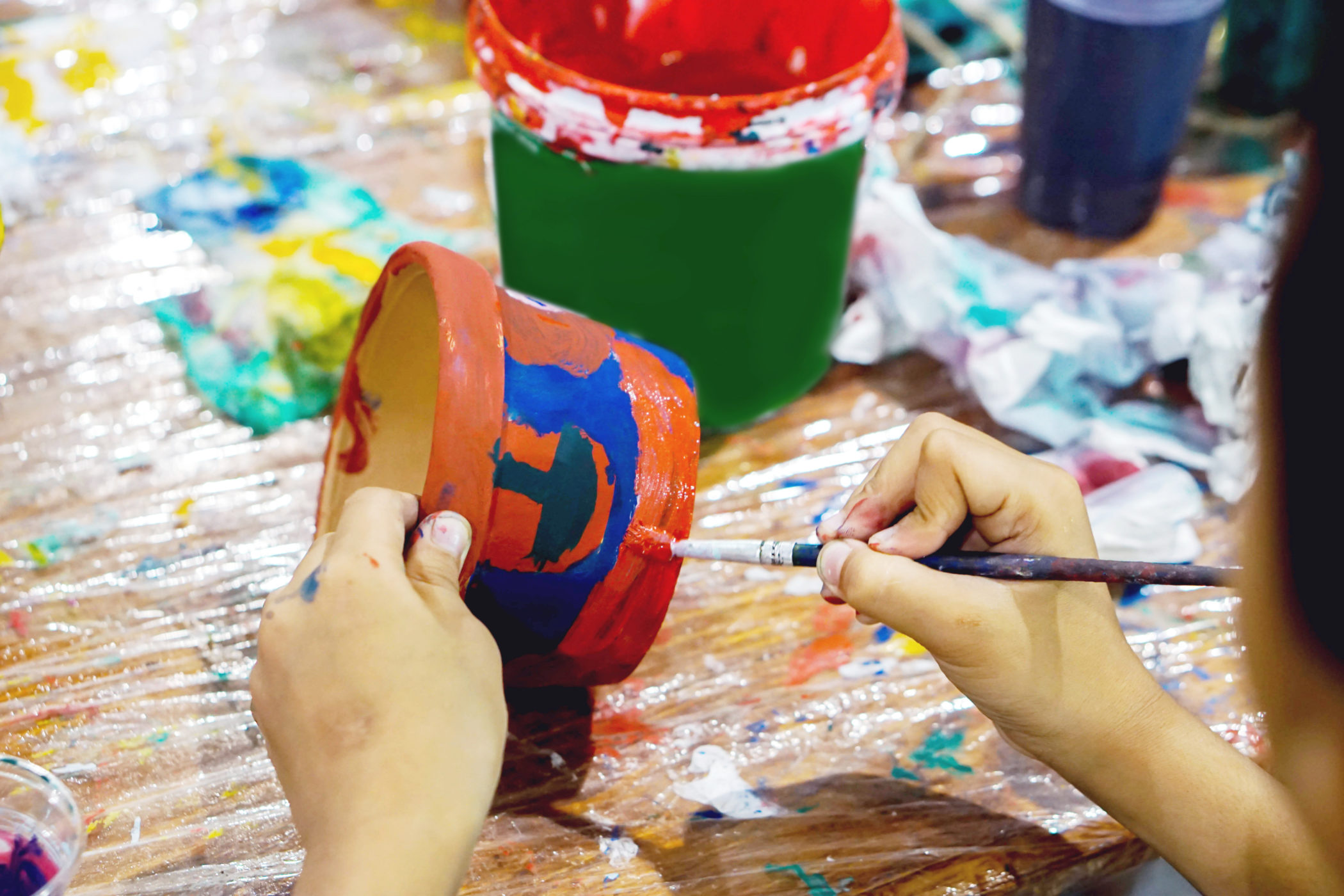 Terra Cotta Clay Pot Painting